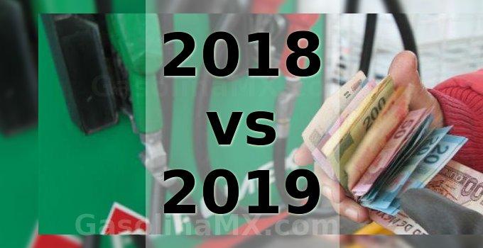 2018 vs 2019 precio gasolina