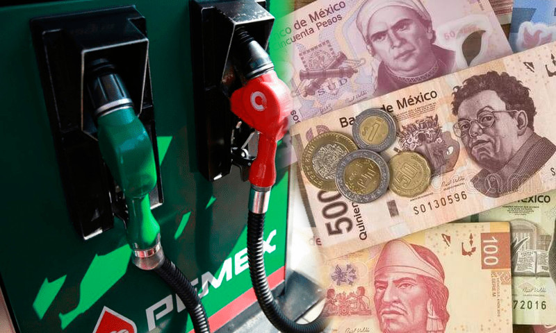 gasolina precio dinero mexico pesos mexicanos billetes monedas